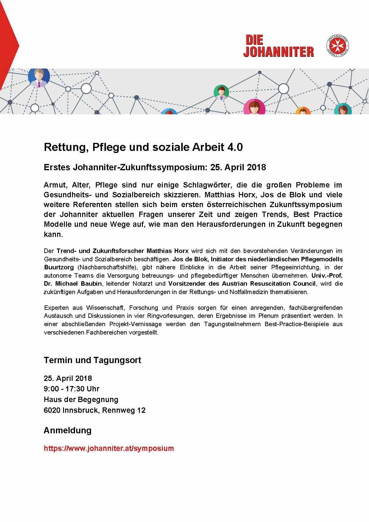 Rettung, Pflege und soziale Arbeit 4.0 - 1. Johanniter-Zukunftssymposium