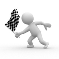 3d human with checkered flag at motion