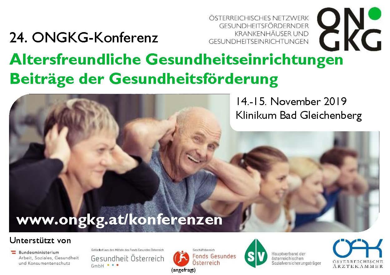 24. ONGKG-Konferenz: Altersfreundliche Gesundheitseinrichtungen – Beiträge der Gesundheitsförderung