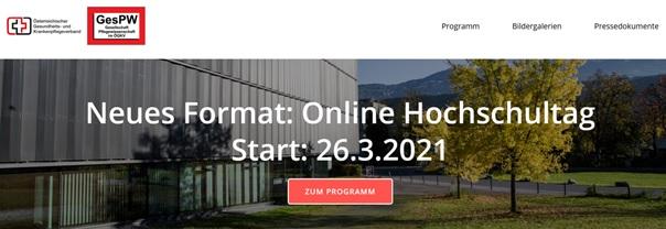 """Online Hochschultag - 4. """"Österreichische pflegewissenschaftliche Hochschultag"""""""
